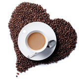 Top view of coffee cup with heart shaped beans Stock Image