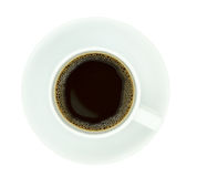 Top view of a coffee cup, isolate on white background. Top view of a coffee cup, isolate on white background stock images