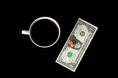 Top view of coffee cup and money Royalty Free Stock Images