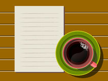 Top view of coffee cup and note paper Stock Photography