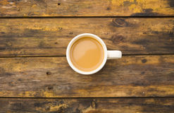 Top view of coffee cup on table wood Royalty Free Stock Image