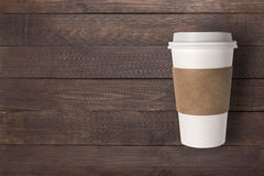 Top view coffee cup on the wooden background. Copyspace for your Royalty Free Stock Photos