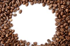 A frame from roasted coffee beans with empty copy space. royalty free stock photos