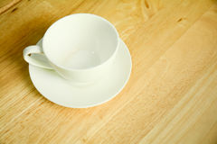 Top view  coffee mug  on wood table. Top view  coffee mug  on wood table Stock Photo