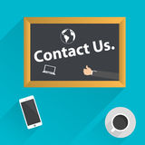 Top view of coffee, phone and blackboard with Contact Us. Royalty Free Stock Photography