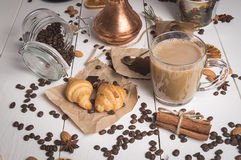Top view of coffee set Royalty Free Stock Images