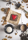 top view of coffee set on the day of St. Valentine Royalty Free Stock Photos