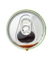 Top view of cola beverage over from the green aluminum beverage Stock Images