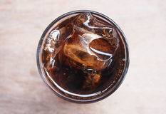 Top view of cola with ice Royalty Free Stock Images