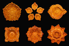 Top view Collage of beautiful designer clay lamps. Royalty Free Stock Photography
