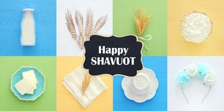 Top view collage image of dairy products. Symbols of jewish holi. Day - Shavuot Stock Images