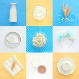 Top view collage image of dairy products. Symbols of jewish holiday - Shavuot. Top view collage image of dairy products. Symbols of jewish holiday - Shavuot Stock Image