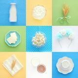 Top view collage image of dairy products. Symbols of jewish holiday - Shavuot. royalty free stock photos
