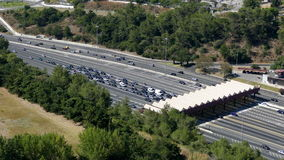 Top View on Collection Point for the Payment Toll road near Lisbon. Portugal stock video