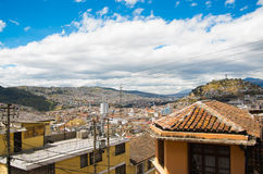 Top view of the colonial town with some colonial houses located in the city of Quito.  Royalty Free Stock Image