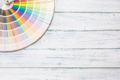 Top of view color palette on wooden table.  royalty free stock images