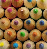 Top View of Color Pencils Stock Photo