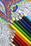 Top view of color pencils Royalty Free Stock Photos