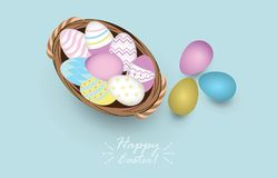 Top view of colored easter eggs in basket. Vector illustration Stock Photography