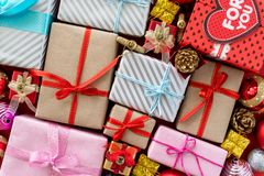 Top view of Colored gift boxes with ribbons. Gifts for Christmas new year and birthday concept royalty free stock images