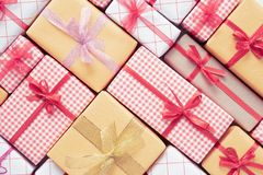 Top view of Colored gift boxes with ribbons. Gifts for Christmas new year and birthday concept royalty free stock photos