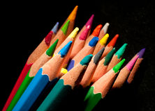 Top view of colored pencils Stock Photo
