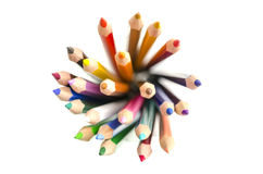 Top view of colored pencils. Top view of stack of colored pencils all pointing upwards Royalty Free Stock Images