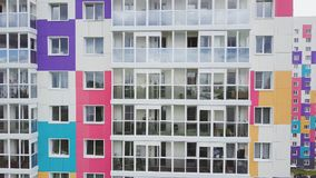 Top view of colored residential complex. Clip. Beautiful stylish houses of different colors in a luxury residential stock images