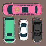 Top view colorful car toys pickup automobile transport wheel transportation design auto vector illustration. Stock Photos