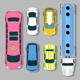 Top view colorful car toys pickup automobile transport wheel transportation design auto vector illustration. Royalty Free Stock Photography