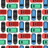 Top view colorful car toys seamless pattern background pickup automobile transport wheel transportation design vector Royalty Free Stock Photography