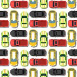 Top view colorful car toys seamless pattern background pickup automobile transport wheel transportation design vector Stock Photos