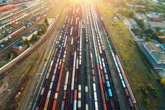 Top view of colorful cargo trains. Aerial view Royalty Free Stock Image
