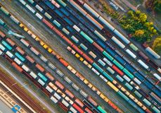 Top view of colorful cargo trains. Aerial view Royalty Free Stock Photography