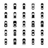 Top View Colorful Cars Glyph Icons. This technical pack of top view colorful cars glyph icons is representing top view of colorful cars either luxury or mini stock illustration