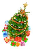 Top view of colorful Christmas tree Stock Images