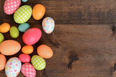 Top view colorful easter eggs Stock Photo