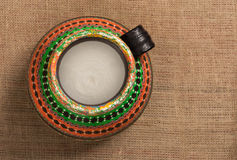 Top view of a colorful Egyptian handcrafted artistic pottery jar Royalty Free Stock Photo