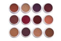 Top view of colorful eye shadows Stock Photo