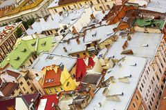 Top view on colorful roofs and houses of Lvov, Ukraine Royalty Free Stock Photography