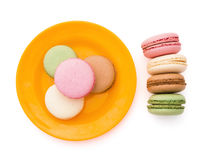 Top view colorful macaroons with clipping path Royalty Free Stock Photo