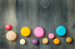 Top view of colorful macaroons Royalty Free Stock Images