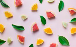 Top view of colorful organge fruit on pastel background.concepts stock photography