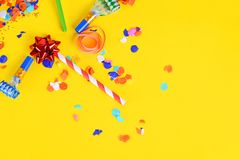Top view of colorful party confetti background Stock Image