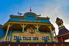 Top view of colorful Pecos Bill Saloon in Frontierland at Magic Kingdom in  Walt Disney World .