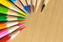 Top view colorful penceils Royalty Free Stock Images