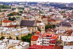 Top view on colorful roofs and houses of Lvov in Ukraine Royalty Free Stock Photos