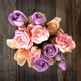Top view of colorful roses bouquet. Royalty Free Stock Photos