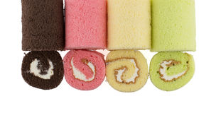 Top view of colorful slice roll cake Royalty Free Stock Photos