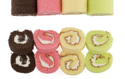 Top view of colorful slice roll cake Stock Photography
